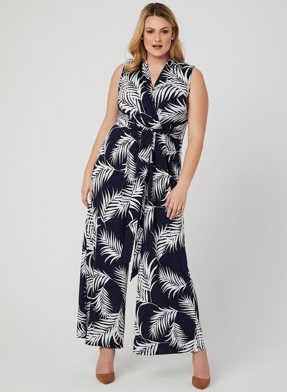Combinaison cache-cœur motif tropical, Bleu
