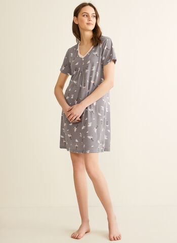Claudel Lingerie - V-Neck Pleated Effect Nightshirt, Grey,  nightshirt, sleepwear, print, v-neck, short sleeves, stretchy, pleated, spring summer 2020