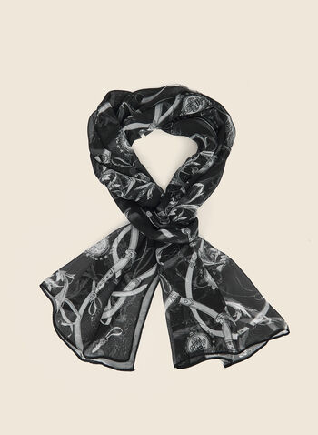 Lightweight Printed Scarf, Black,  scarf, lightweight, chain print, fall winter 2020