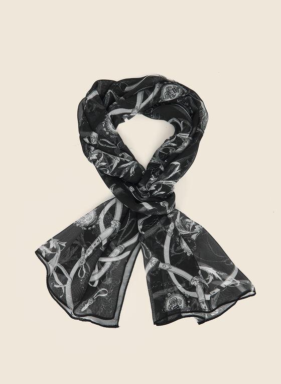Lightweight Printed Scarf, Black