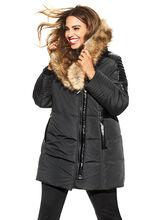 Manteau en polyfill et simili fourrure, Noir, hi-res