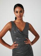 Metallic Faux-Wrap Gown, Grey, hi-res