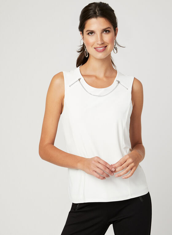 Zipper Detail Sleeveless Top, Off White, hi-res