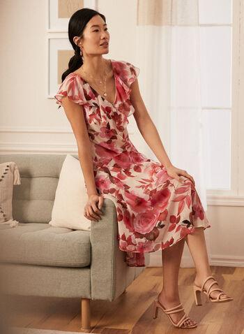 Robe à motif floral à volants , Blanc,  printemps été 2021, robe, robe de jour, encolure V, manches courtes, volant, fermeture éclair, asymétrique, mousseline, motif, floral
