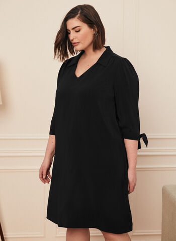 V-Neck 3/4 Sleeve Dress, Black,  dress, day, 3/4 sleeves, tie, knot, v neck, spring summer 2021