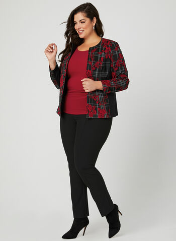 Floral & Plaid Print Jacket, Black, hi-res