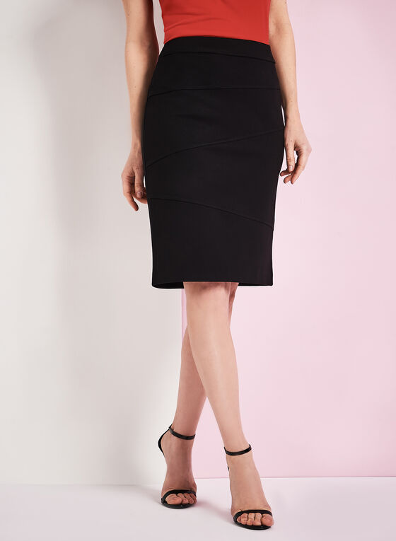 Ponte Bondage Stitch Pencil Skirt, Black, hi-res
