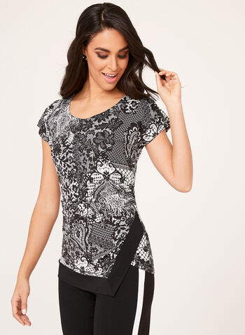 Lace Print Asymmetric Blouse, Black, hi-res