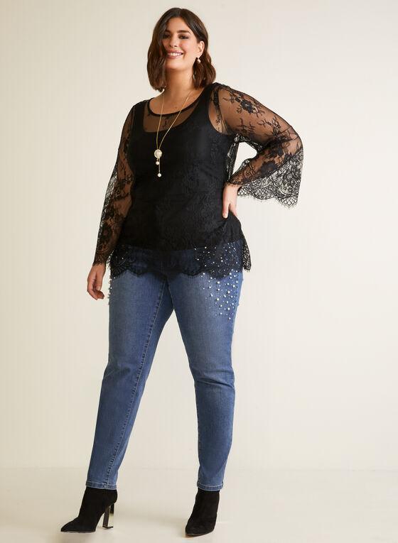 Eyelash Lace Popover Top, Black