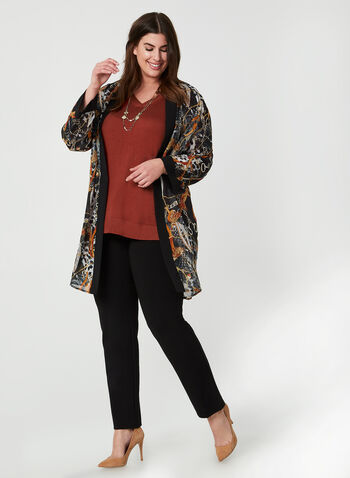 Open Front Chiffon Tunic, Black, hi-res,  Canada, top, blouse, open front, tunic, long sleeves, equestrian, chiffon, fall 2019, winter 2019