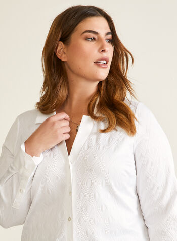 Diamond Pattern Jacquard Blouse, White,  fall winter 2020, shirt, long sleeves, jacquard, buttons