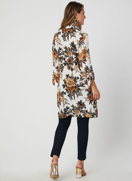 Floral Print Duster Jacket, White, hi-res