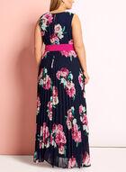 Floral Print Pleated Dress, Blue, hi-res