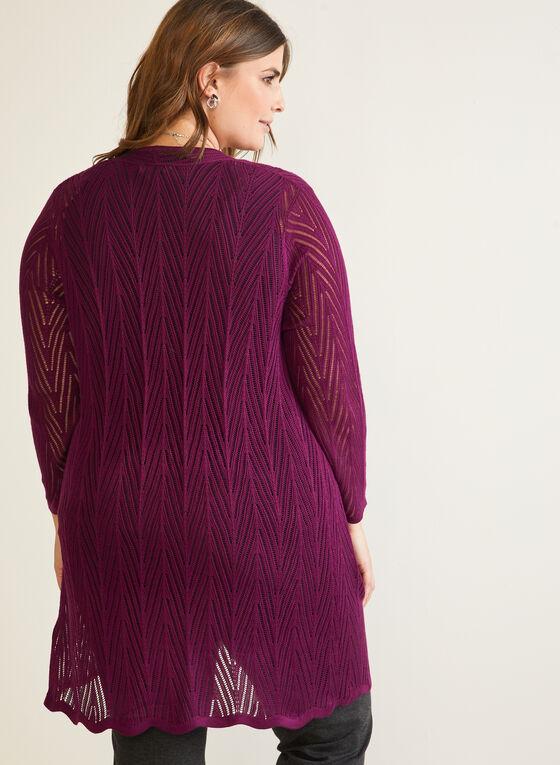 Cardigan long en tricot pointelle, Violet