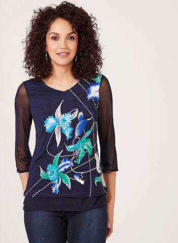 Floral Print Mesh Detail Blouse, Blue, hi-res