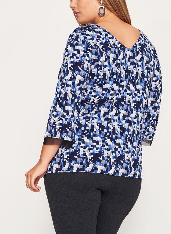 Haut en jersey à motif abstrait, Bleu, hi-res