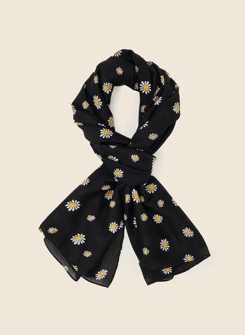 Foulard long à motif marguerites , Noir,  foulard, léger, floral, marguerites, soie, long, printemps été 2021