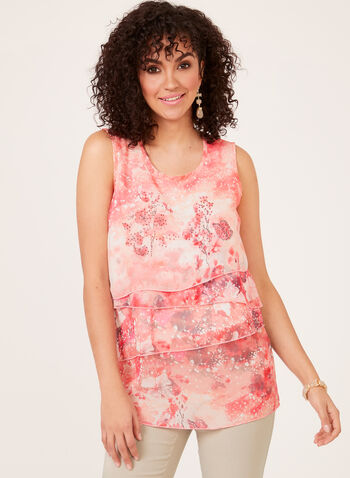 Vex - Sleeveless Tiered Chiffon Top, Multi, hi-res