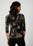 Haut ouvert floral et détails zippés, Noir
