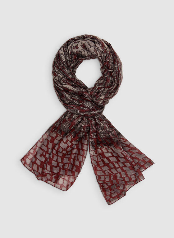 Abstract Print Scarf, Red