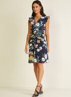 Floral Print Ruffled Sleeve Dress, Blue