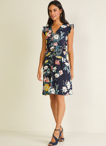 Floral Print Ruffled Sleeve Dress, Blue,  day dress, floral, cap sleeves, ruffled, v-neck, spring summer 2020