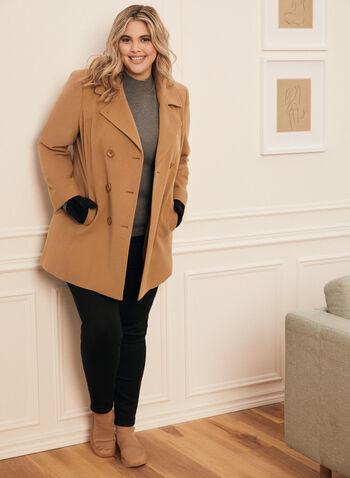 Louben - Manteau en laine et cachemire , Beige,  manteau, veste, double boutonnière, boutons, col cranté, laine, cachemire, poches, automne hiver 2020