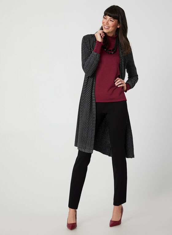 Two Tone Long Sleeve Cardigan , Grey