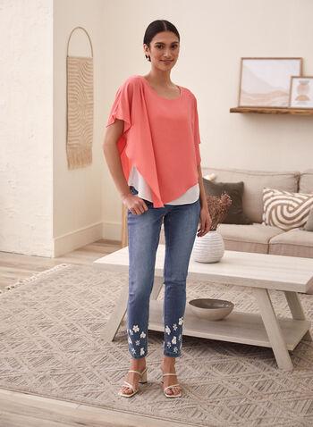 Asymmetric Cape Sleeve Blouse, Orange,  top, blouse, asymmetric, cape, poncho, crepe, spring summer 2021