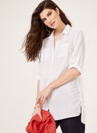 Button Front Linen Tunic, White, hi-res