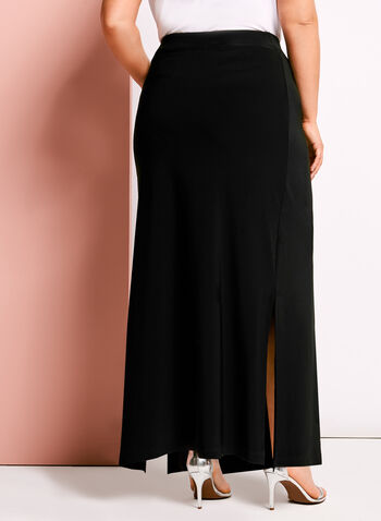 Side Slit Detail A-line Maxi Skirt, Black, hi-res