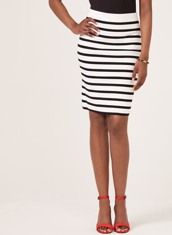 Tribal - Stripe Print Pull On Pencil Skirt, White, hi-res