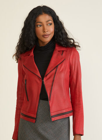 Vex - Faux Suede Jacket, Red,  jacket, suede, leather, zipper, notch collar, fall winter 2020