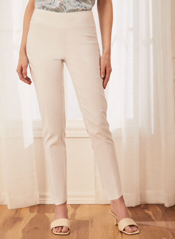 Slim Leg Pull-On Pants, White,  slim leg, pull on, pull-on, elastic waist, bengaline, comfort, stretchy, made in Canada, spring summer 2021