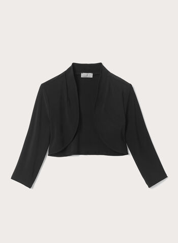 Open Front ¾ Sleeve Bolero , Black, hi-res