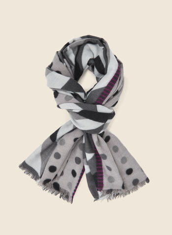 Geometric Print Scarf, Grey,  fall winter 2020, scarf, accessories, frayed, geometric print