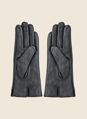 Suede and Leather Gloves, Black,  fall winter 2020, leather, suede, real, button, placket