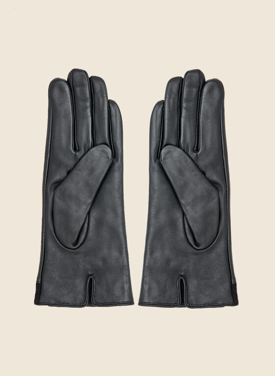 Suede and Leather Gloves, Black
