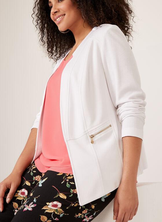 Vex - Blazer ouvert et détails zips , Blanc, hi-res