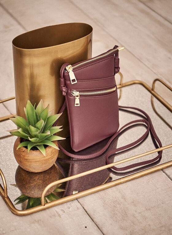 Zip Detail Crossbody Bag, Purple