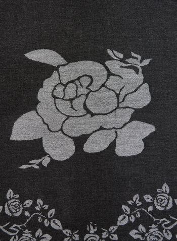 Floral Print Knit Scarf, Grey, hi-res