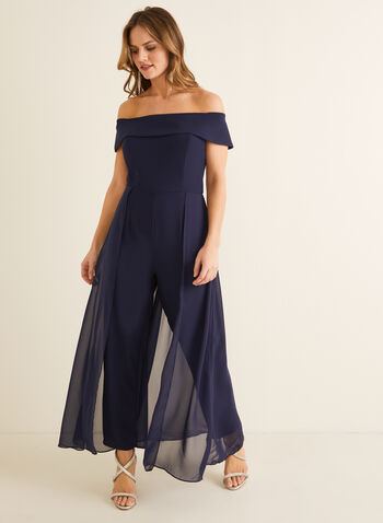 Bardot Neckline Jumpsuit, Blue,  jumpsuit, bardot, chiffon, crepe, short sleeves, off the shoulder, straight leg, spring summer 2020