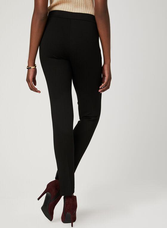 Pantalon pull-on coupe cité et détails zippés, Noir, hi-res