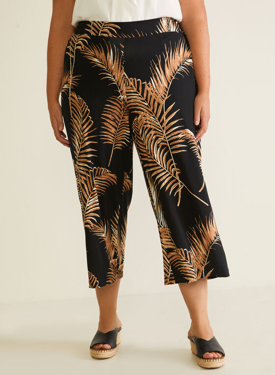 Tropical Print Gaucho Pants, Black