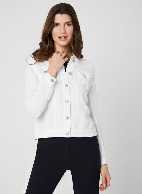 Linen Blend Jacket, White, hi-res