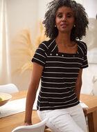 Striped Stud Detail Tee, Black
