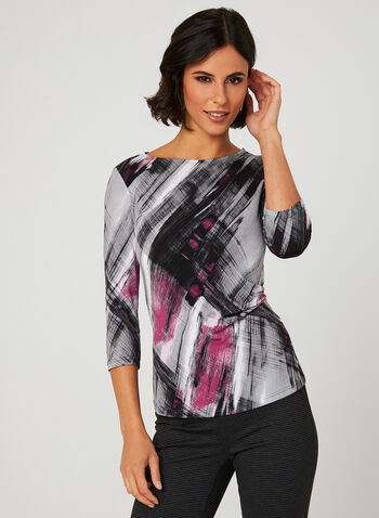 Abstract Print Draped Blouse, Multi, hi-res
