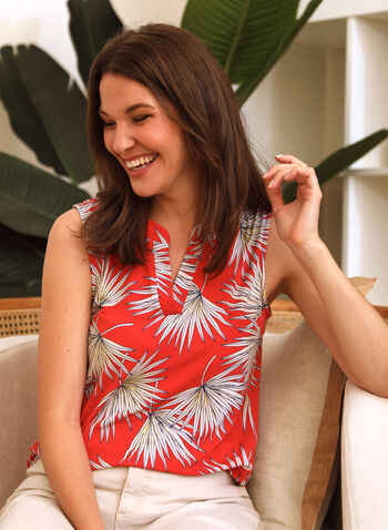 Palm Leaf Print Sleeveless Blouse, Red,  spring summer 2021, sleeveless, split v neck, print, palm tree, leaves, made in Canada, blouse, top