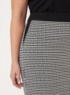 Jupe crayon tricot imprimé pied-de-poule, Noir, hi-res