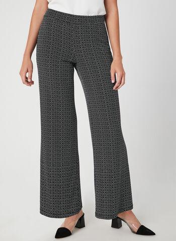 Pantalon coupe moderne à motif abstrait, Noir, hi-res,  jambe large, automne hiver 2019, jersey, Canada, contrastant